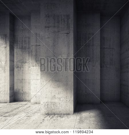 Abstract Concrete Interior With Many Corners
