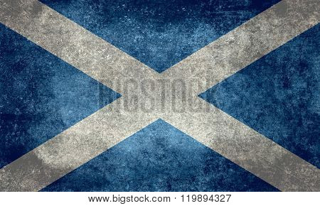 Flag Of Scotland With Distressed Vintage Treatment