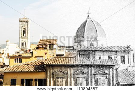 From Sketch To The Florence City - Cathedral Santa Maria Del Fiore And Giotto's Campanile, Italy, Il