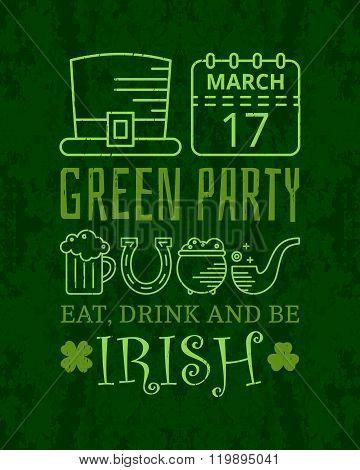 Eat, drink and be irish grunge vintage poster.