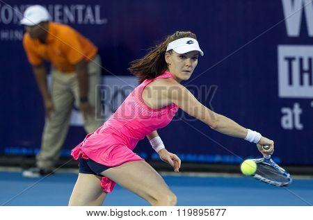 Hua Hin Thailand-Dec 31:World No.5 Tennis player Aginieszka Radwanska in World Tennis Thailand Championship 2016 on December312015 at True Arena Hua HinThailand