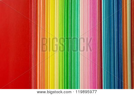 Stacked and colored paper. Origami paper ends high magnification macro.
