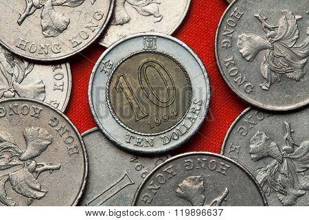 Coins of Hong Kong. Ten Hong Kong dollars.