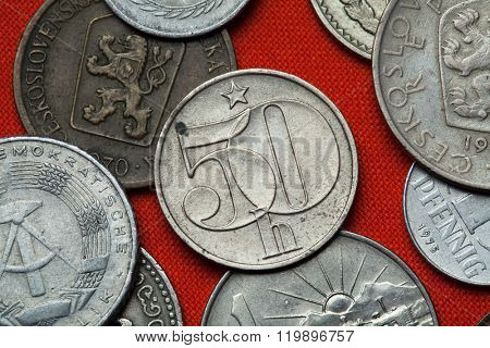 Coins of Czechoslovakia. Czechoslovak 50 haler coin coined in the Czechoslovak Socialist Republic.