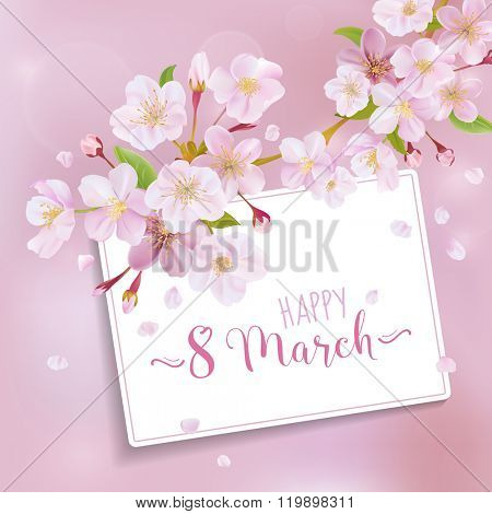 8 March - Women's Day Greeting Card Template - in vector