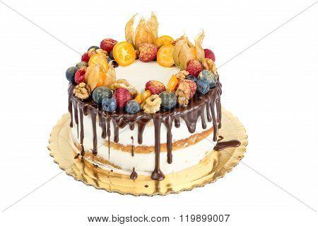 Naked Cake With Fruits Isolated On White