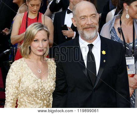 J.K. Simmons and Michelle Schumacher at the 88th Annual Academy Awards held at the Hollywood & Highland Center in Hollywood, USA on February 28, 2016.