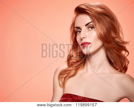 Beauty portrait woman, eyelashes, natural makeup