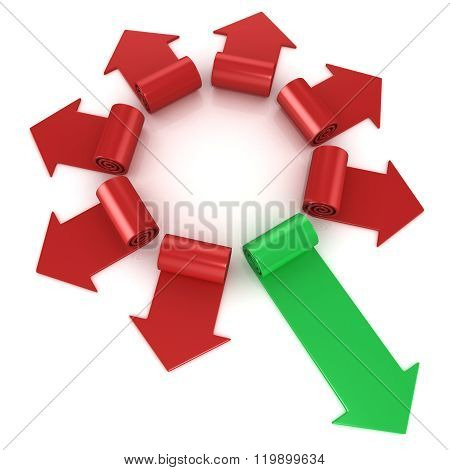 Red spiral arrows directed of the center with one green arrows faster than others