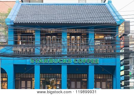 Blue Building Of Starbucks Coffee