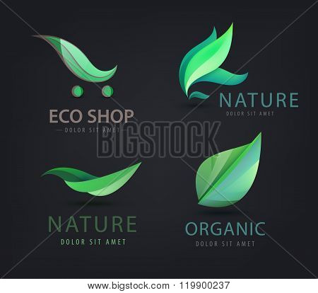 Vector set of eco logos, leaves, organic
