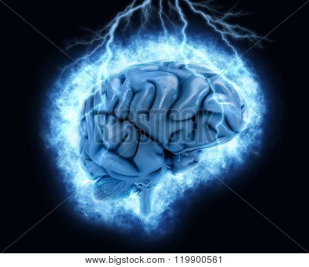 3D render of a brain with exploding lightening effect