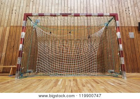 Soccer goalpost in old gymhall