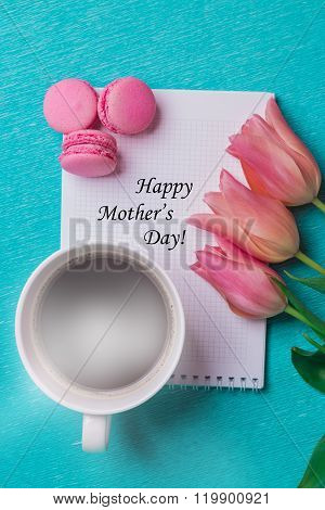 Tag Happy Mother's Day And Three Pink Tulips