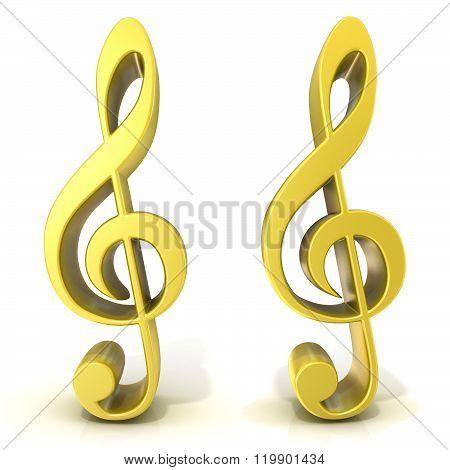 Golden treble clefs