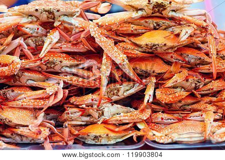 A Pile Of Boiled Blue Crabs On Street Market