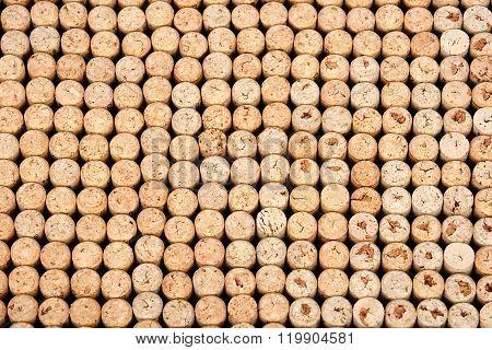 Californian vine cork glued on table background
