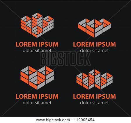 Vector building blocks logo set, abstract geometric logos, structure logos