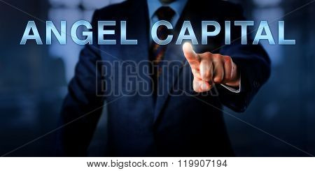 Business Executive Pointing At Angel Capital