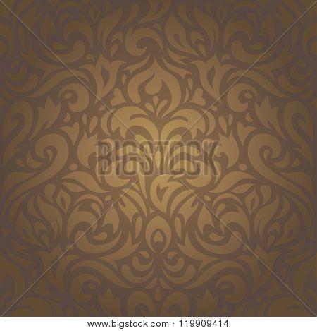 Floral brown vintage retro ornamental design