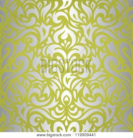 Floral green & silver vintage design background