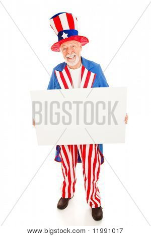 Realistic Uncle Sam holding a blank white sign ready for your text.  Isolated on white.