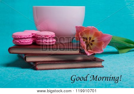 Tag Good Morning With Pink Tulip, A Cup Of Coffee