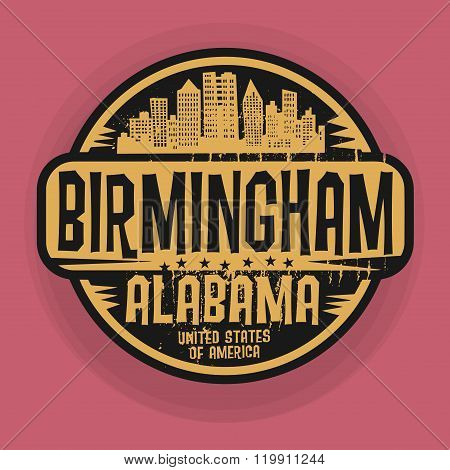 Stamp Or Label With Name Of Birmingham, Alabama