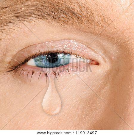 Crying blue eye