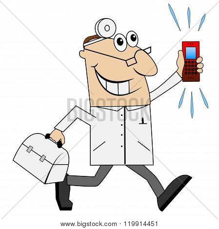 Male Doctor In A Hurry To Call