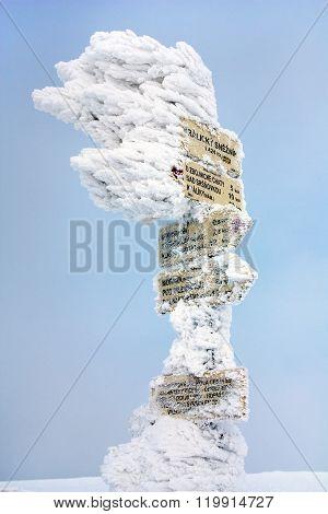 Signpost On Top Of Kralicky Sneznik Or Snieznik Klotzky