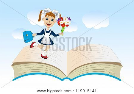 Cheerful Girl With A School Uniform On An Open Book