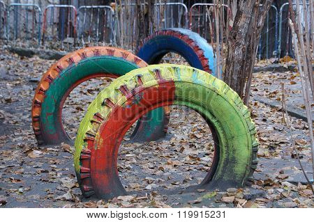Colorful Wheel Made In Asphalt