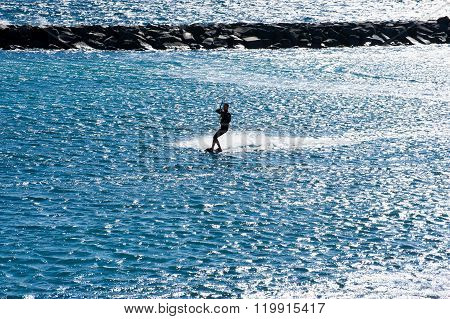 Kite Surfing  In Puertito De Guimar In Tenerife, Canary Islands, Spain