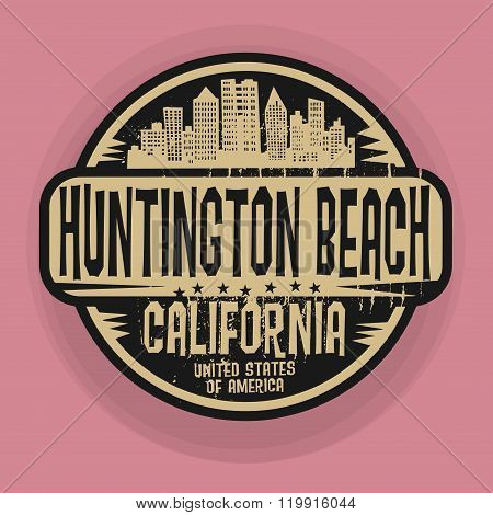 Stamp Or Label With Name Of Huntington Beach, California