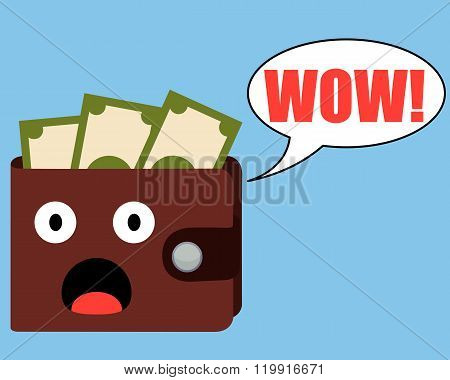 Surprised purse with money on a blue background. Vector illustration