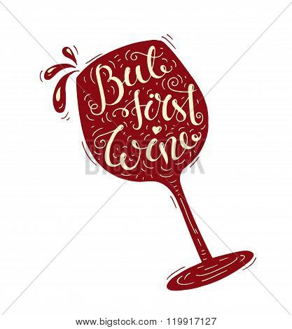 Red Doodle Typography Poster With Wineglass.