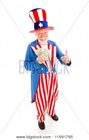 American icon Uncle Sam holding cash.  Metaphor for US economic recovery.  Full body isolated.