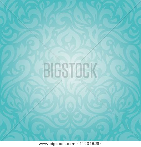 Retro floral Turquoise holiday vintage invitation background design