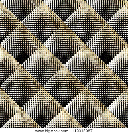 Gold vector abstract background. Gold shimmer background. Gold mosaic background. Sparkling gold sequins on a black background. Gold white round pixels in square on black background