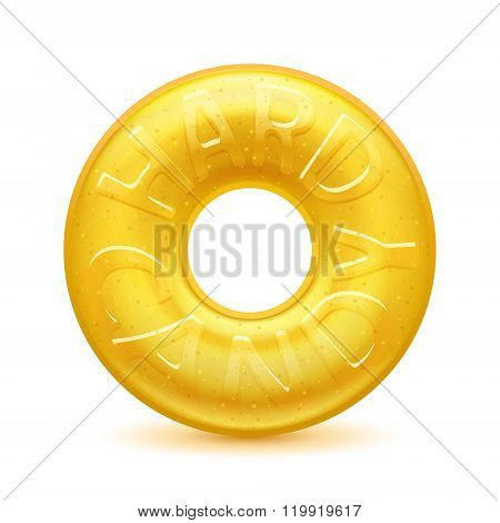 Round yellow hard candy realistic illustration.