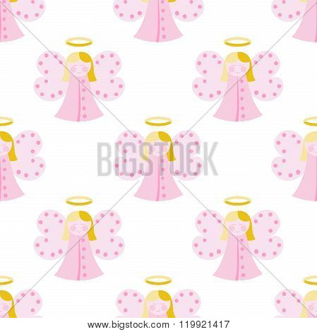 Cute Angel Seamless Pattern