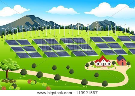 Wind Turbines And Solar Panels Farm