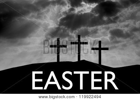 Three Easter Crosses On Hill