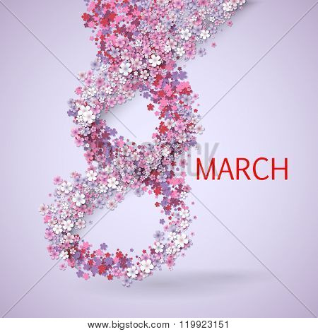 Pink Floral Greeting card - International Happy Women's Day - 8 March holiday background with paper cut Frame Flowers. Trendy Design Template. Vector illustration.