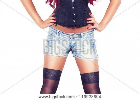 Girl In Denim Shorts
