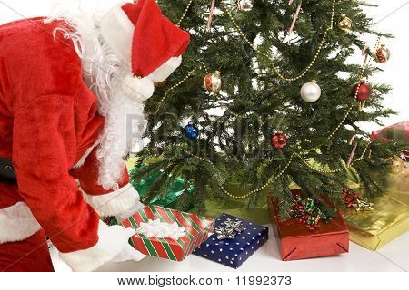 Santa Claus putting gifts under the Christmas tree.  White background.