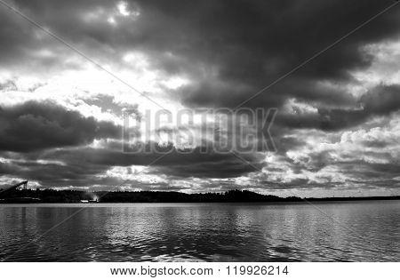Lake At Cloud Day.