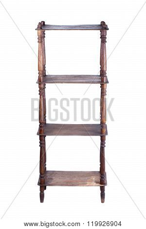old retro vintage bookcase isolated on white