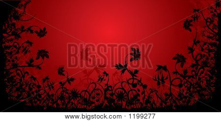 Floral Grunge Frame, Vector Illustration
